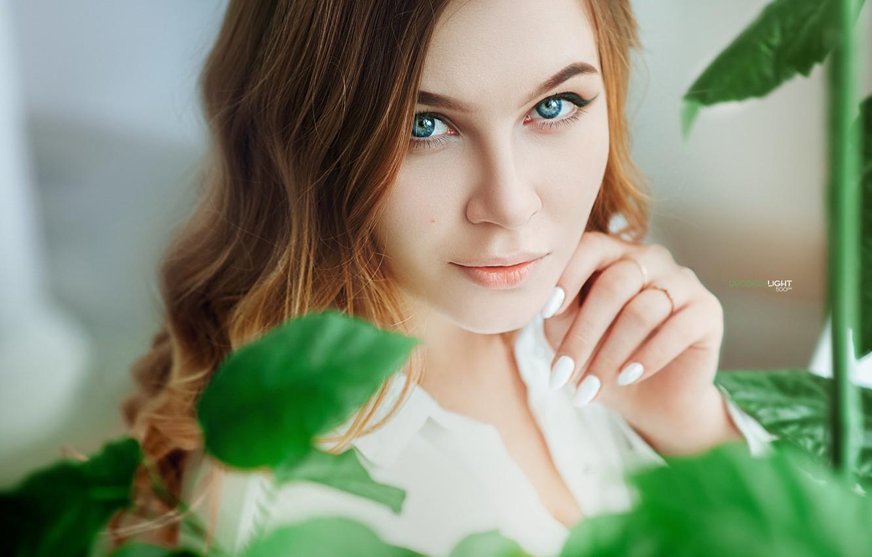 Photo wallpaper look, leaves, face, model, portrait, makeup, hairstyle, in white, redhead, bokeh, Pauline, Alexander Drobkov