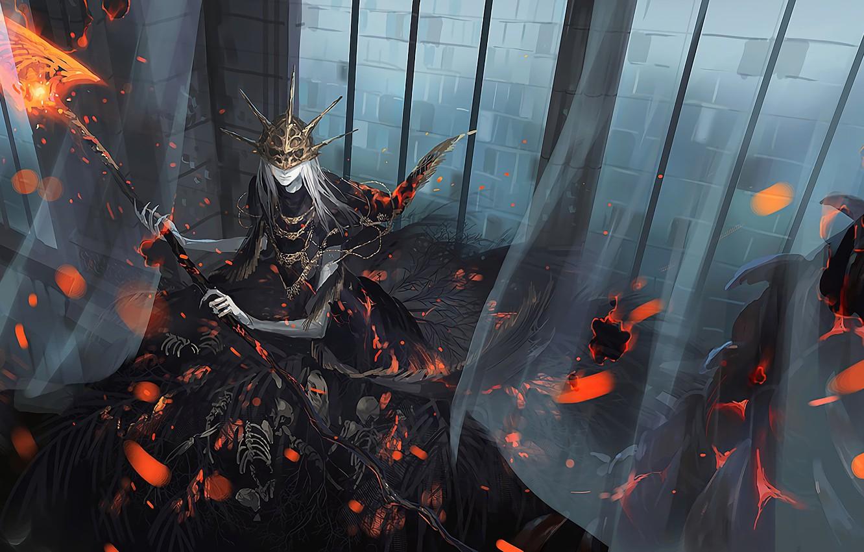 Photo wallpaper fire, game, crown, Death, digital art, artwork, mask, flames, skeletons, embers, Dark Soul, Dark Souls …