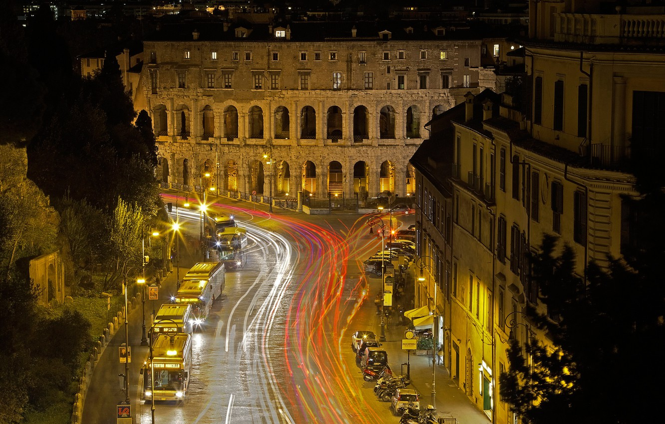 Photo wallpaper night, lights, Rome, Italy, theatre of Marcellus