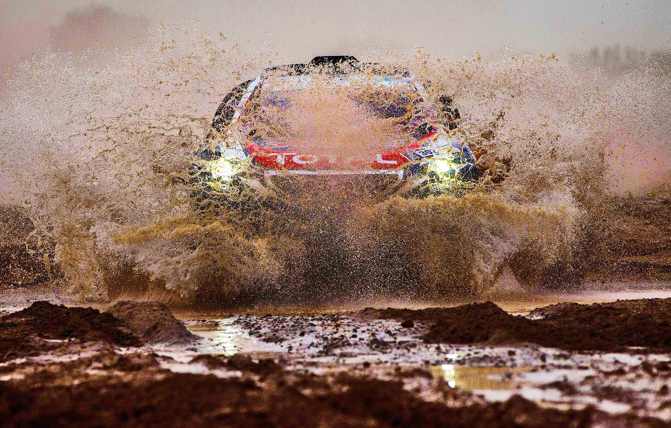 Photo wallpaper Sand, 2008, Sport, Speed, Light, Race, Dirt, Peugeot, Squirt, Lights, Red Bull, Rally, Rally, Sport, …