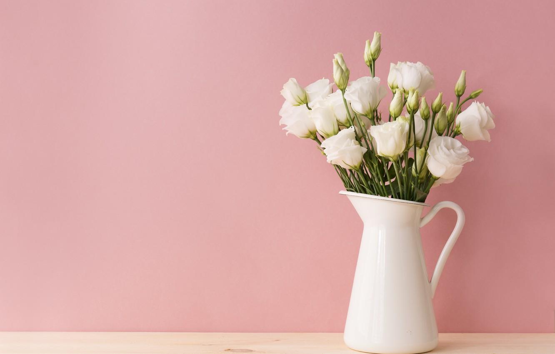 Photo wallpaper Flowers, bouquet, vase, Eustoma