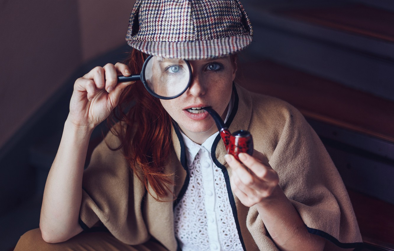 Photo wallpaper girl, style, tube, magnifier, Sherlock Holmes