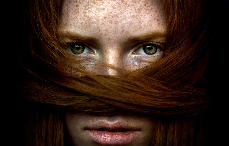 Photo wallpaper eyes, girl, hair, red