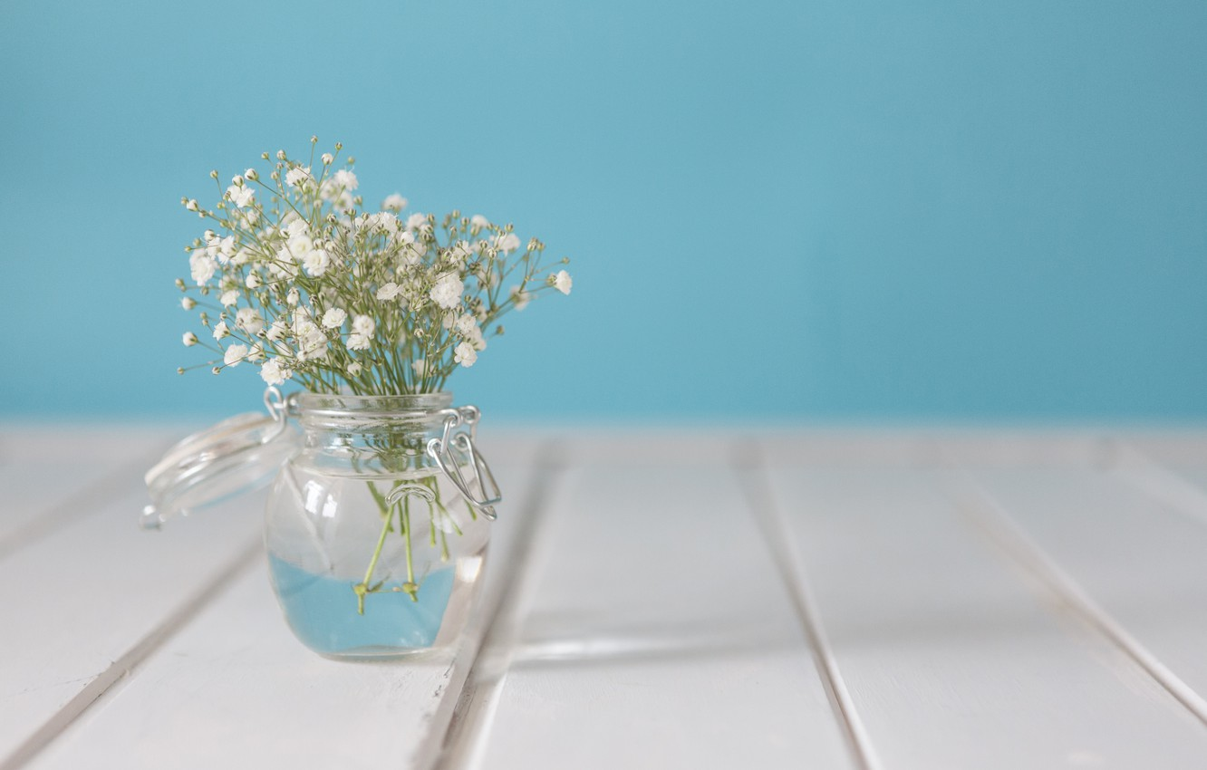 Photo wallpaper flowers, bouquet, vase, white, with, flowers, vase