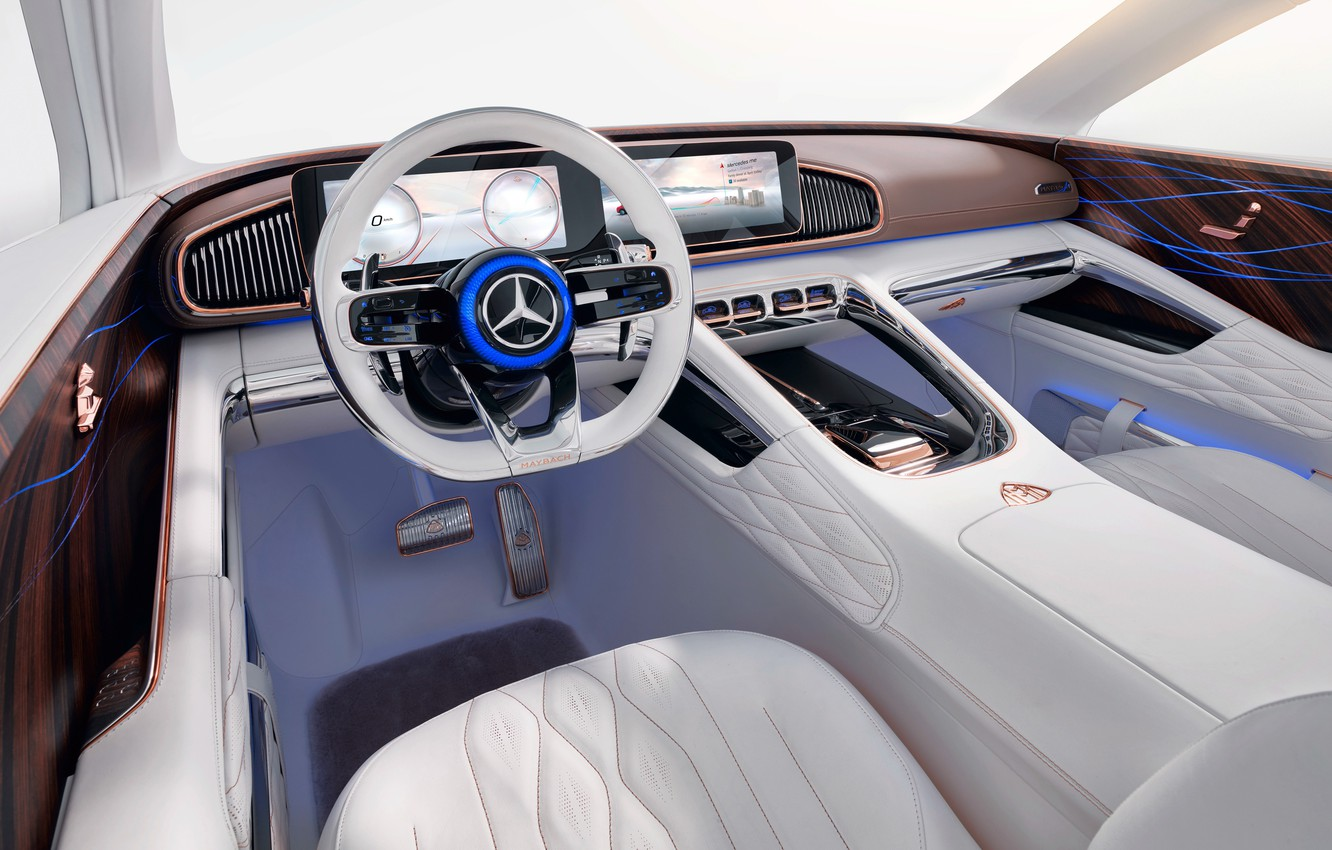 Photo wallpaper Mercedes-Benz, the wheel, Vision, salon, 2018, Mercedes-Maybach, electrocreaser, Ultimate Luxury
