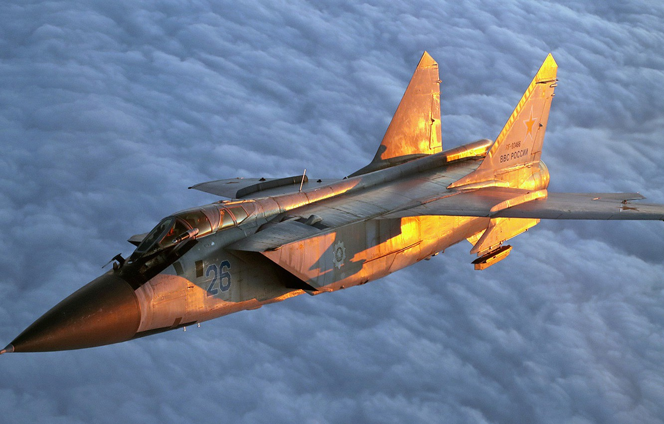 Photo wallpaper fighter-interceptor, Foxhound, double supersonic all-weather, long-range, Serial, Videoconferencing Russia, MiG-31ДЗ, equipped with a refueling system …