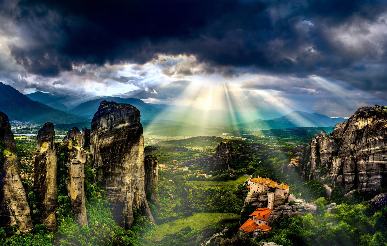 Photo wallpaper greens, summer, the sky, the sun, clouds, rays, light, landscape, mountains, clouds, nature, house, stones, …