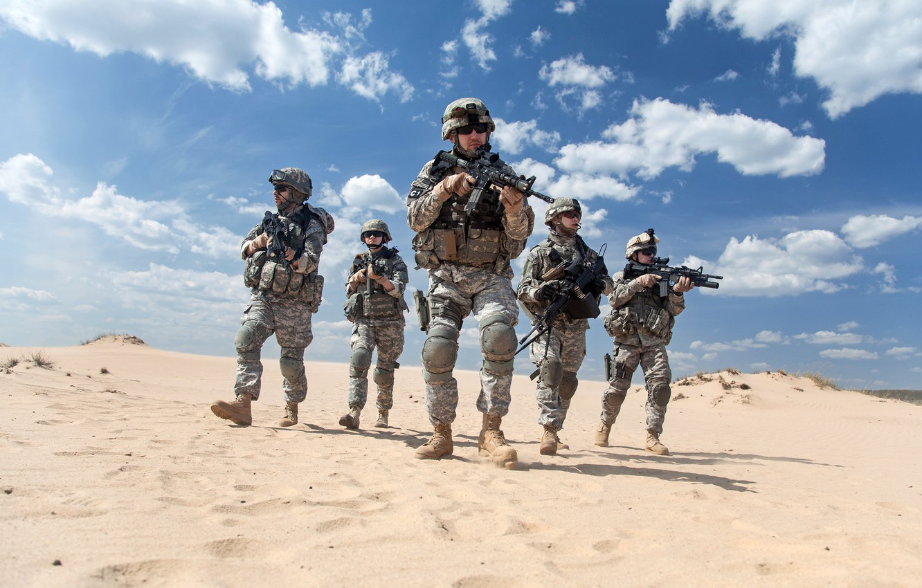 Photo wallpaper sand, the sky, the sun, clouds, weapons, desert, glasses, soldiers, form, camouflage, equipment, fighters, squad, ...