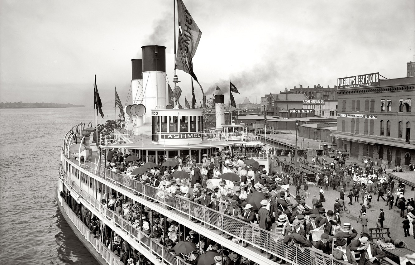 Photo wallpaper people, ship, pier, port, steamer, USA, Detroit, 1900-the year
