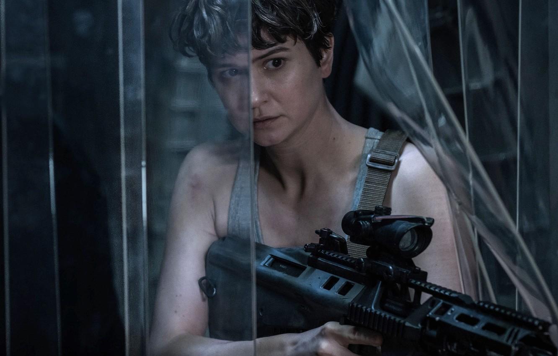 Photo wallpaper cinema, gun, weapon, alien, movie, film, rifle, Prometheus, Katherine Waterston, Alien: Covenant, Alien: Paradise Lost