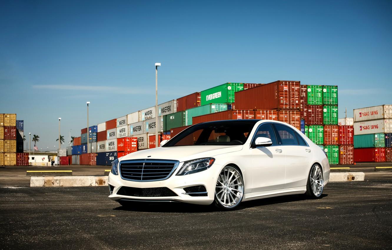 Photo wallpaper Mercedes, wheels, S550, COR, lowered