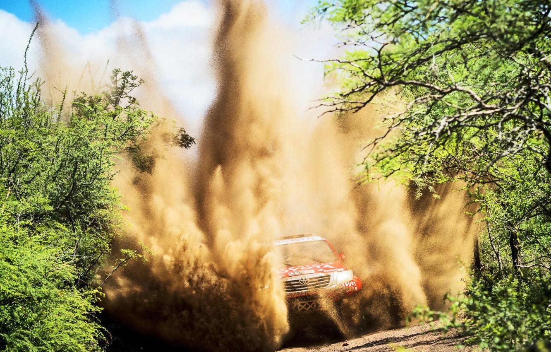 Photo wallpaper Sand, Sport, Speed, Race, Lights, Toyota, Hilux, Rally, Dakar, Dakar, Rally, Sport, Toyota, The front