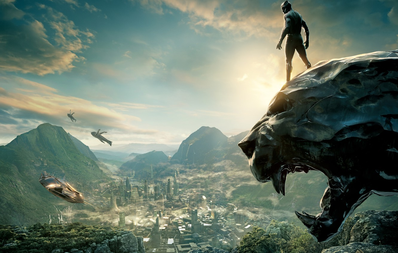 Photo wallpaper the city, movies, ship, Action, Black, Warrior, The, comic, 2018, king, Prince, Martin Freeman, Panther, …