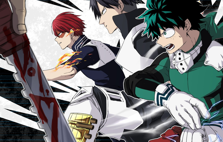 Photo wallpaper anime, guys, Boku no Hero Academy, My hero Academy, Midori Isuku, Todoroki Shoto