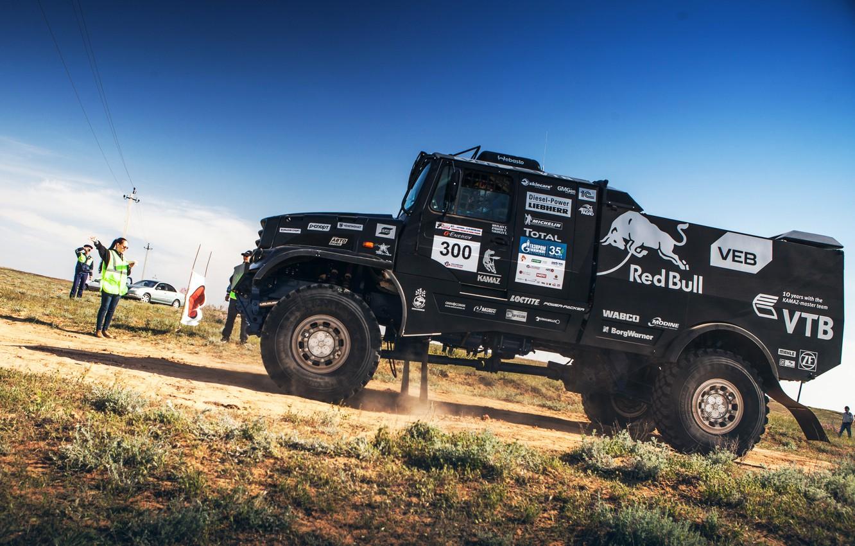 Photo wallpaper Truck, Master, Beauty, Russia, 300, Kamaz, Rally, KAMAZ, The roads, Best, RedBull, Master, Contest, 43509, …