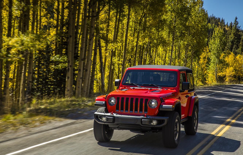 Photo wallpaper road, greens, trees, red, markup, roadside, 2018, Jeep, Wrangler Rubicon