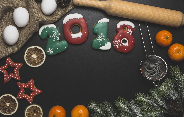 Photo wallpaper new year, spruce, cookies, citrus, flour