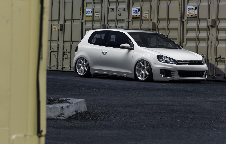 Photo wallpaper Volkswagen, Candy, golf, White, GTI, MK6