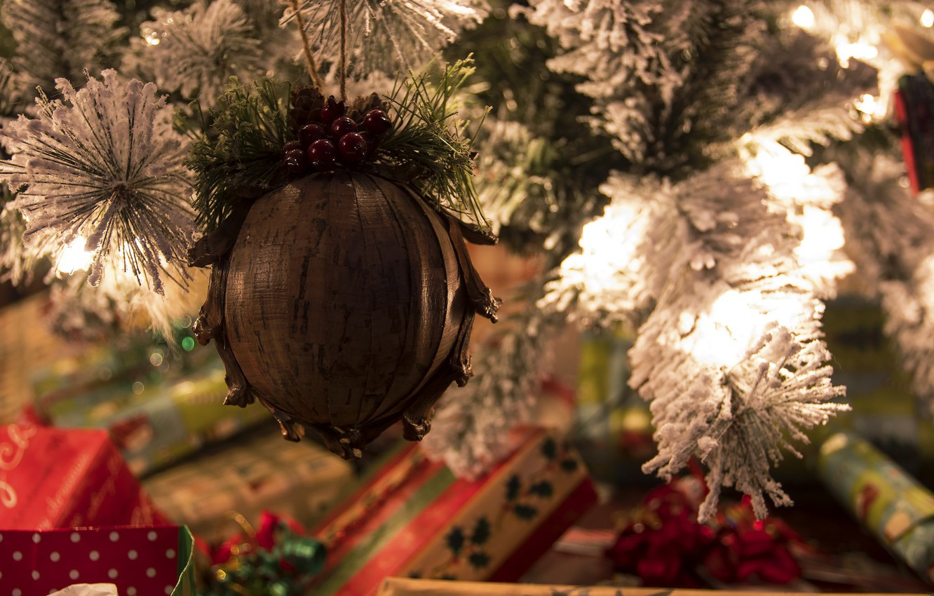 Photo wallpaper mood, holiday, toy, tree, gifts