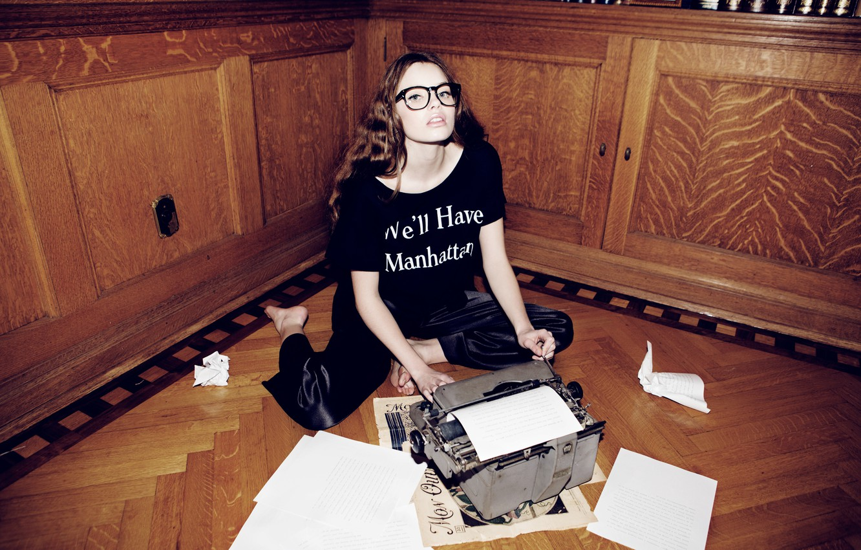 Photo wallpaper look, girl, paper, sweetheart, model, glasses, leaves, brown hair, on the floor, typewriter, Kristine Froseth, …
