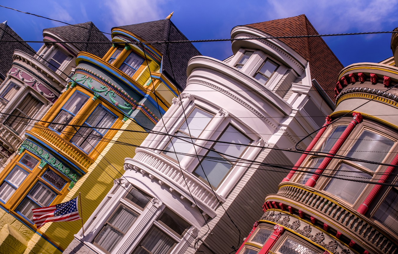 Photo wallpaper wire, Windows, building, home, flag, CA, San Francisco, California, San Francisco, Haight-Ashbury, Haight-Ashbury