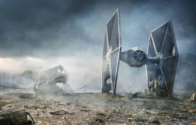 Photo wallpaper Star Wars, R2-D2, TIE fighter, C-3PO, Rebel Droids, Lee Rouse