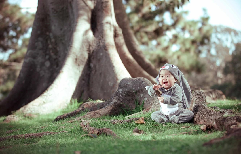 Photo wallpaper grass, leaves, trees, joy, nature, trunks, hare, baby, costume, child, Derek Zhang