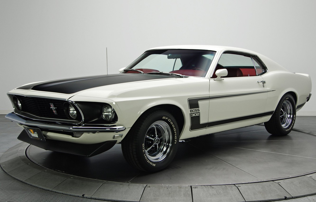 Photo wallpaper 1969, Boss 302, Ford Mustang, muscle classic