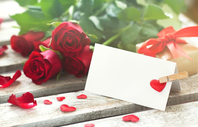 Photo wallpaper gift, tape, hearts, red, valentine's day, roses, pomantic, Valeria Maksakova