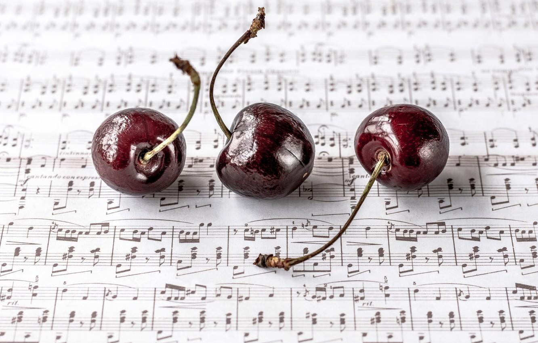 Photo wallpaper cherry, berries, notes