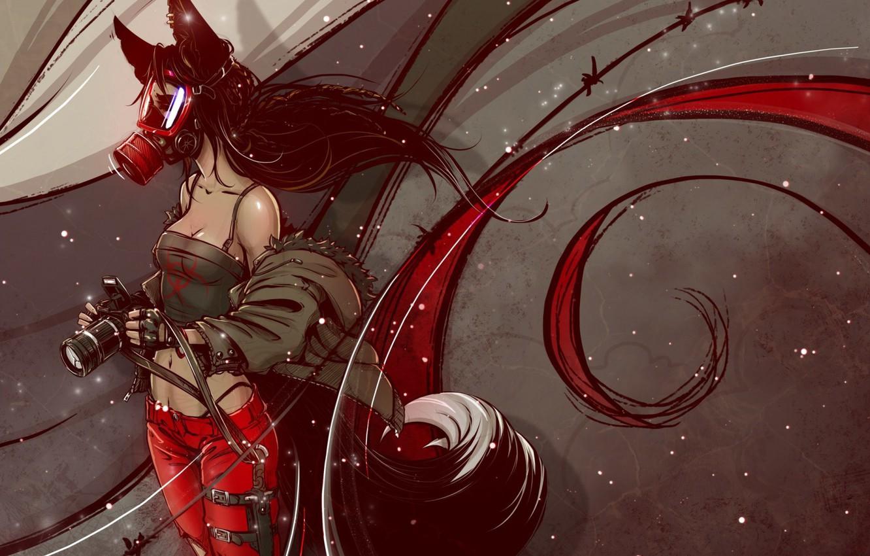Photo wallpaper the camera, gas mask, dagger, black hair, demoness, barbed wire, kitsune, fox girl