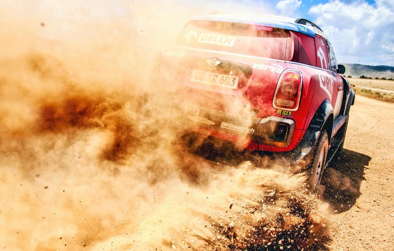 Photo wallpaper Sand, Auto, Mini, Dust, Sport, Machine, Speed, Stones, Race, Skid, Rally, SUV, Rally, X-Raid Team, …