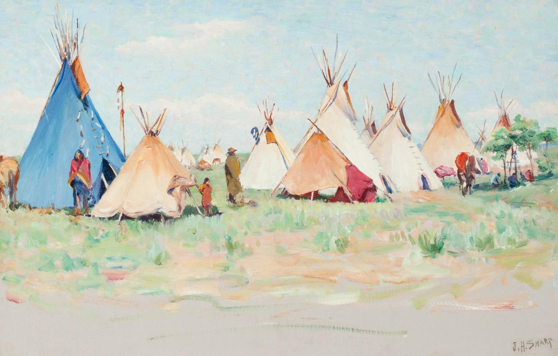 Photo wallpaper Summer Camp, Joseph Henry Sharp, Horn Montana, Crow Encampment, Little Big