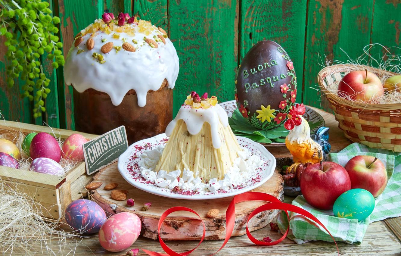Photo wallpaper flowers, apples, eggs, Easter, cake, cock, eggs