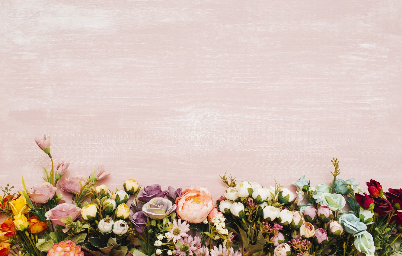 Photo wallpaper flowers, background, colorful, wood, flowers