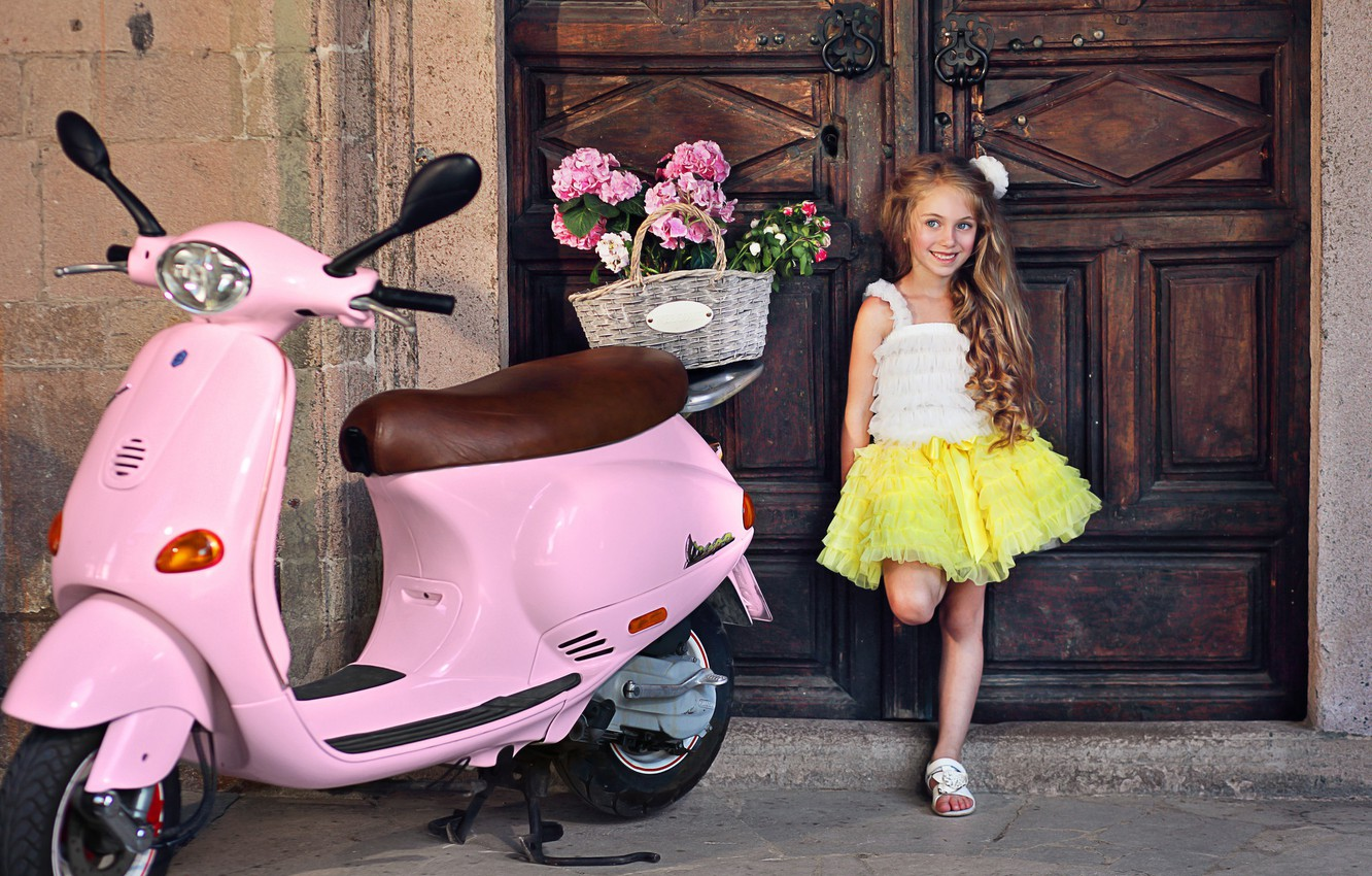 Photo wallpaper flowers, pose, smile, girl, outfit