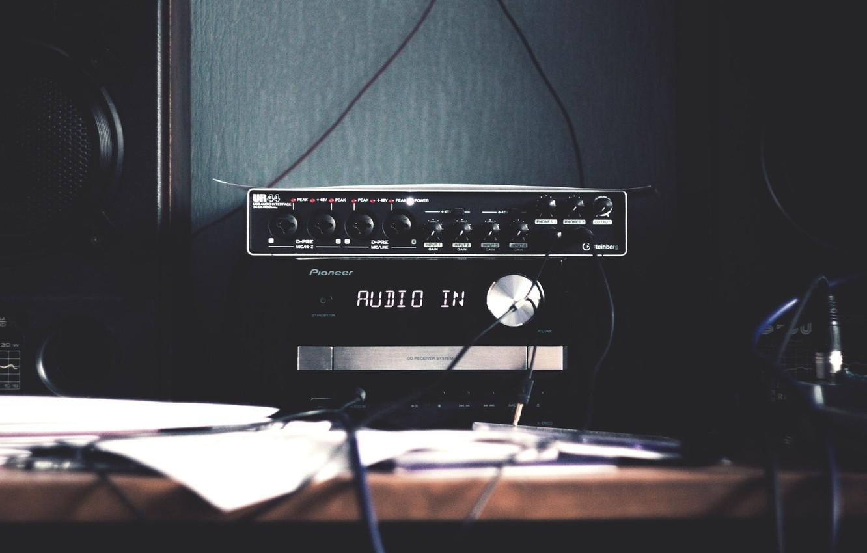 Photo wallpaper table, wire, column, tape, audio