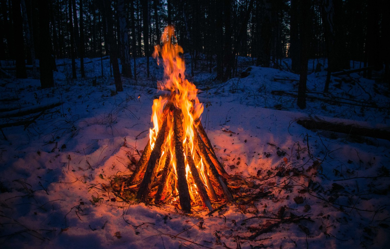 Photo wallpaper winter, forest, snow, loneliness, heat, the fire, Ural, the fire, the village of Iset