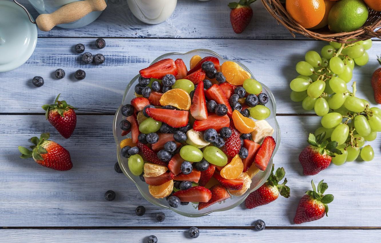 Photo wallpaper berries, strawberry, grapes, fruit, blueberries, Mandarin