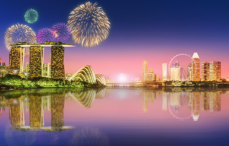 Photo wallpaper sea, landscape, lights, lights, skyscrapers, salute, Singapore, architecture, megapolis, blue, night, fountains