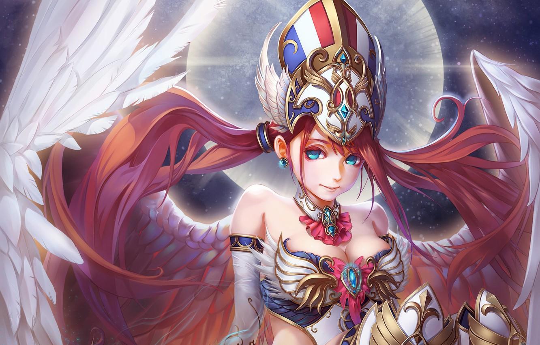 Photo wallpaper girl, fantasy, wings, angel, anime, art, c home