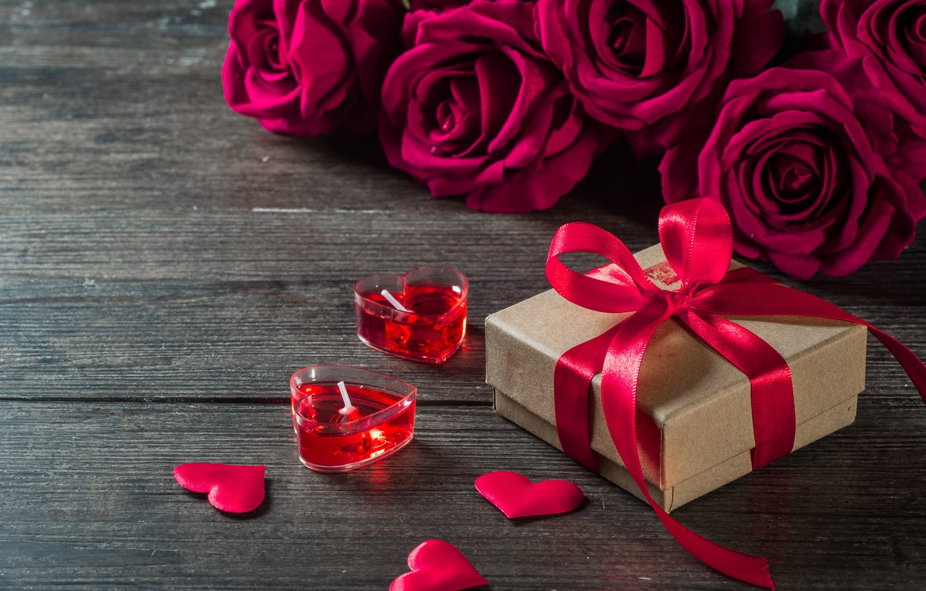 Roses Gift Candles Hearts Valentines Day Love Hd Wallpaper ...