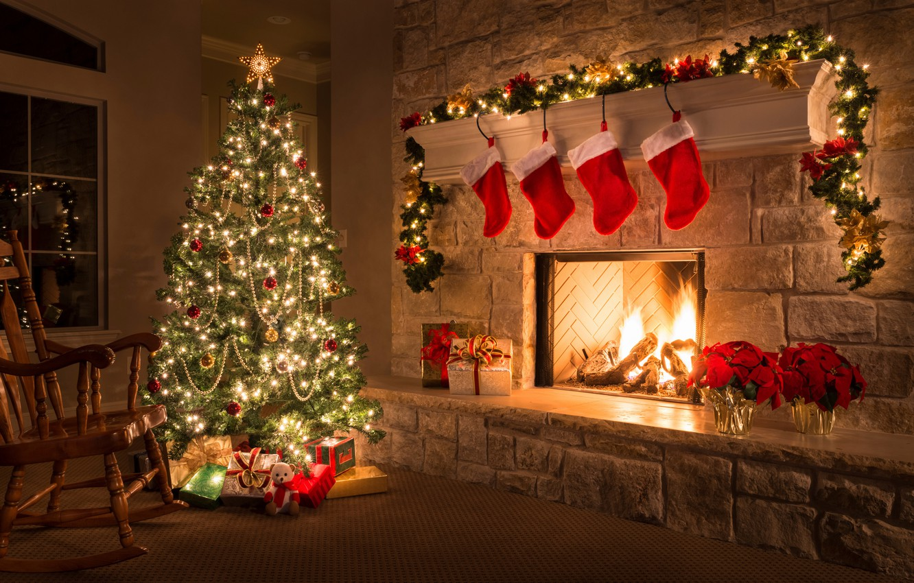 Photo wallpaper comfort, style, room, holiday, tree, new year, decor