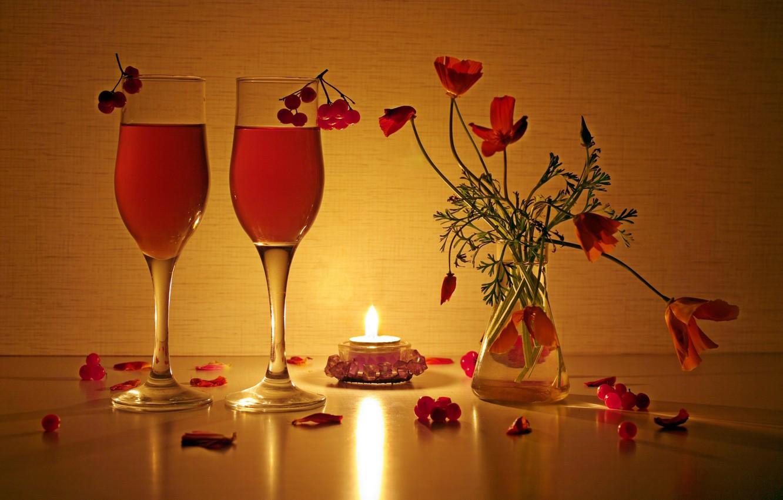 Photo wallpaper light, reflection, fire, beauty, bouquet, the evening, candles, still life, drinks, composition, Kalina, escholzia, bouquets