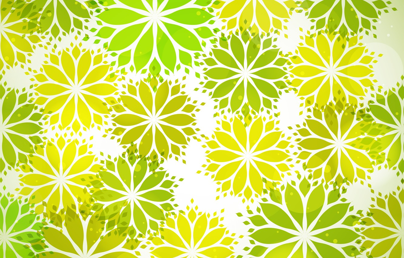 Photo wallpaper flowers, green, texture, flower, with, pattern, leaves, shape, Seamless