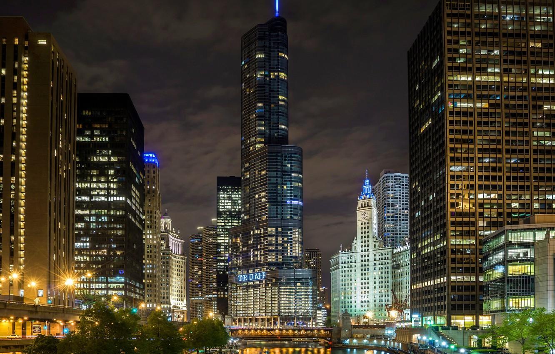 Wallpaper Night Chicago Skyscrapers Usa Chicago Skyline