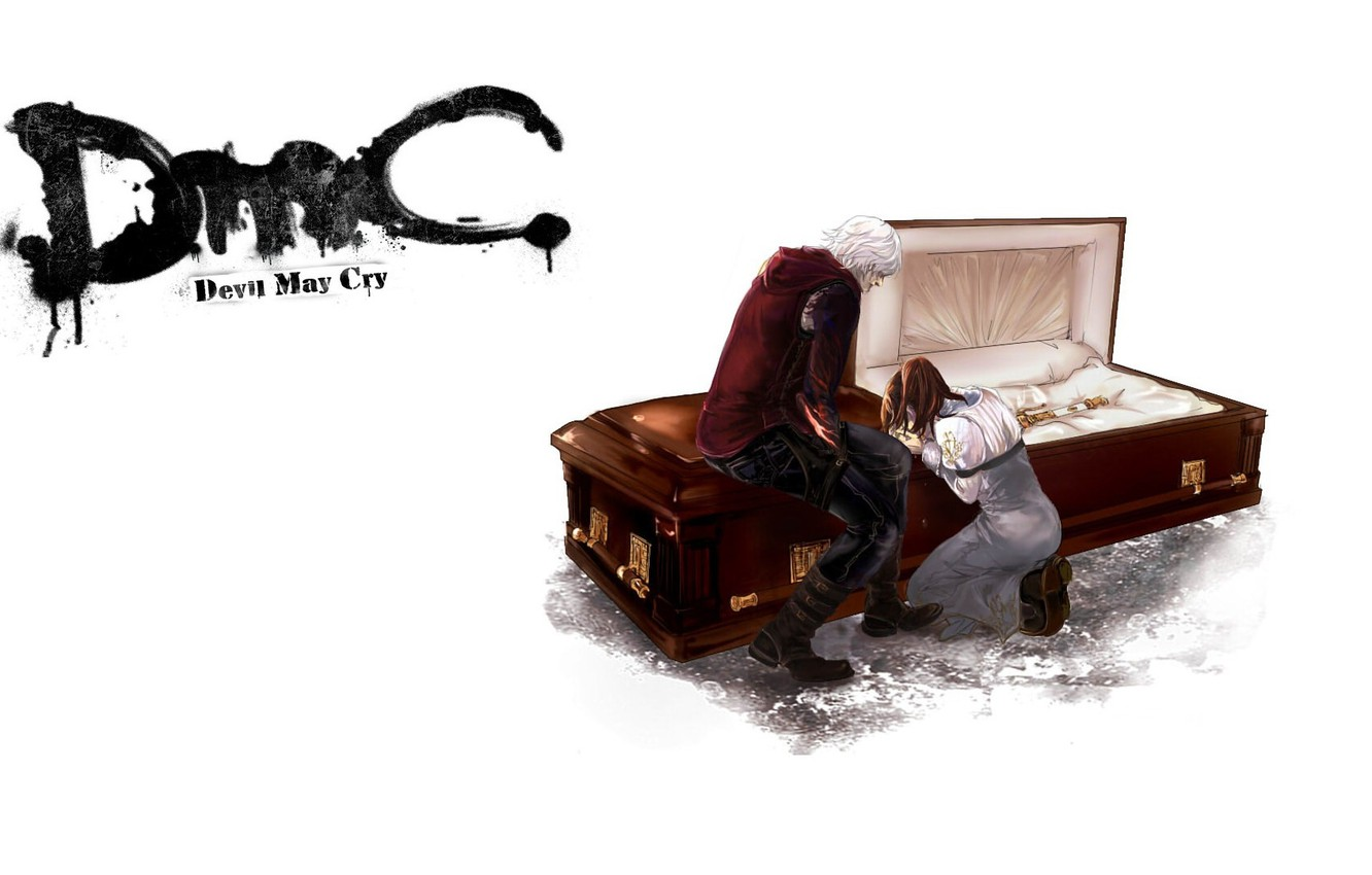 Photo wallpaper void, goodbye, the coffin, two, tears, grief, Nero, Devil May Cry, on their knees, Devil …