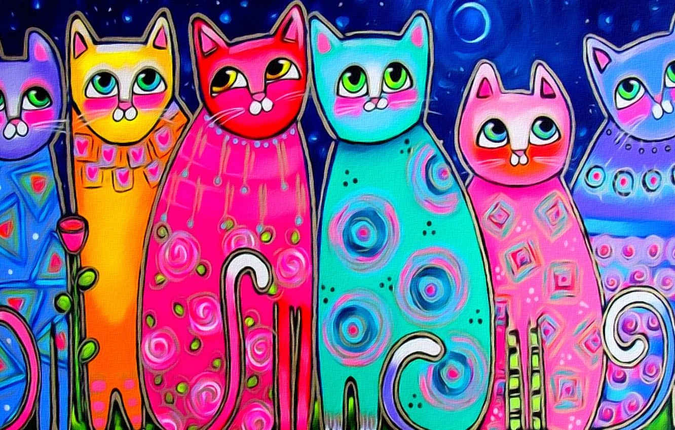 Photo wallpaper eyes, cats, mood, the moon, figure, spring, art, painting, tails, multicolored cats
