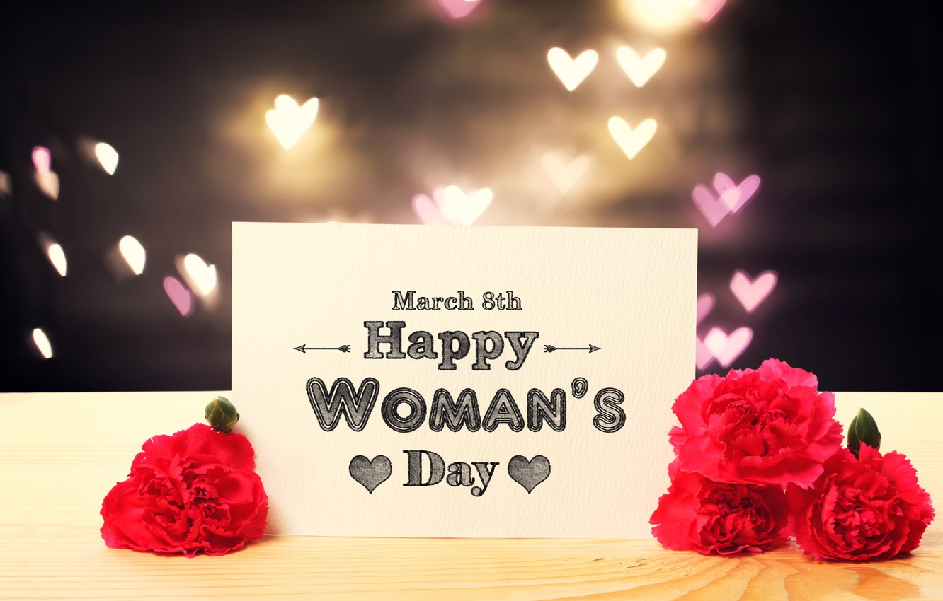 Photo wallpaper gift, roses, red, March 8, hearts, bokeh, roses, Women's Day