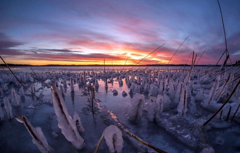 Photo wallpaper winter, sunset, river, ice
